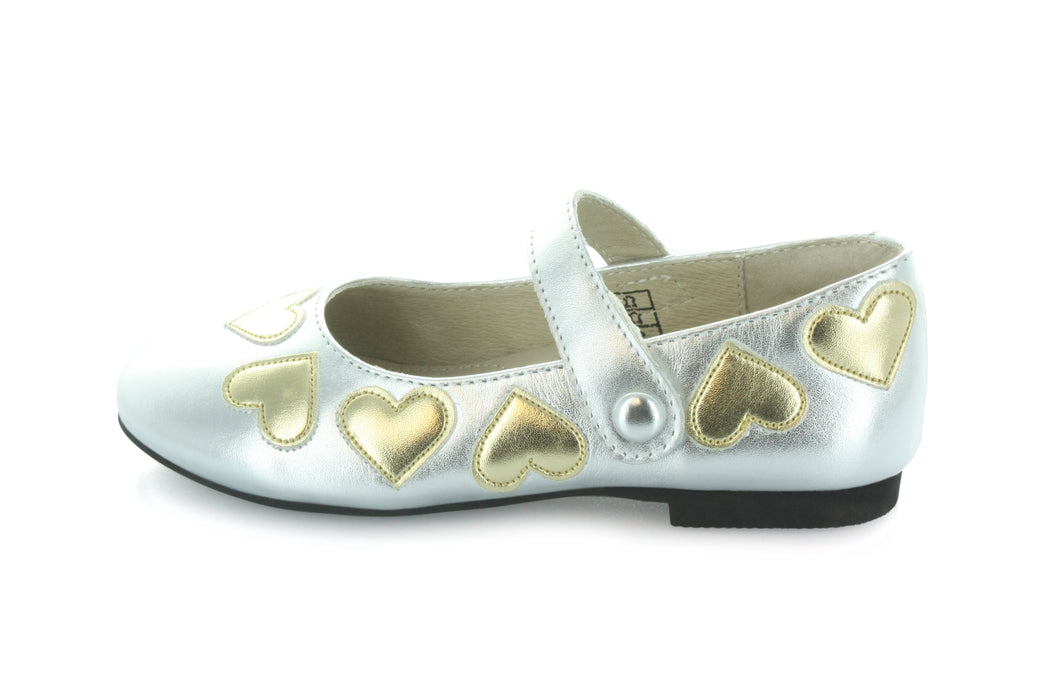 Dee Hearts Mary Jane - Silver / Gold