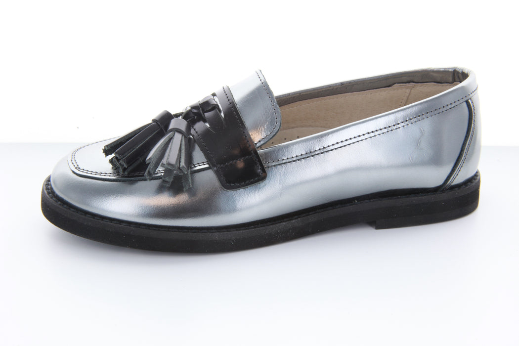 Chloe's Tassel Loafer - Silver Metallic / Black