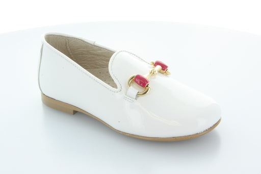 Abby's chain Smoking Shoe  - White Patent