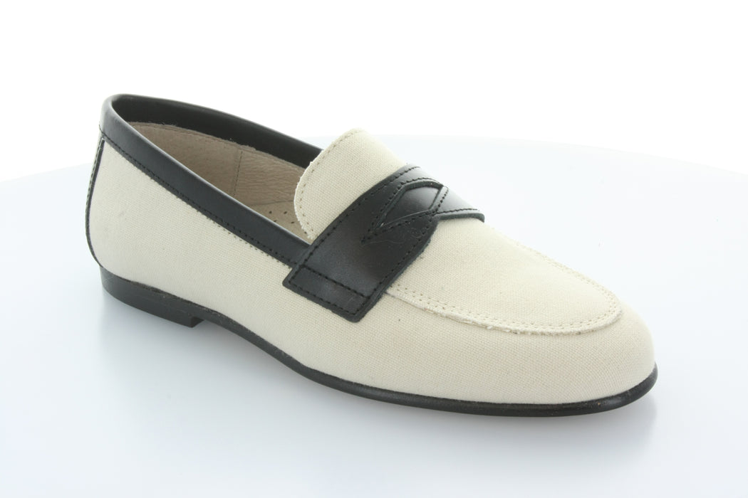 Ann's Penny Strap Loafer  - Cream / Black