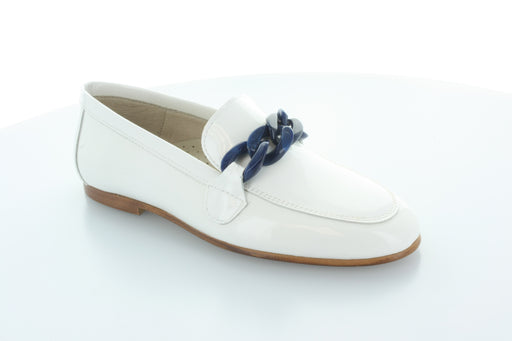 Lisa's Chain Loafer  - White Patent - Blue