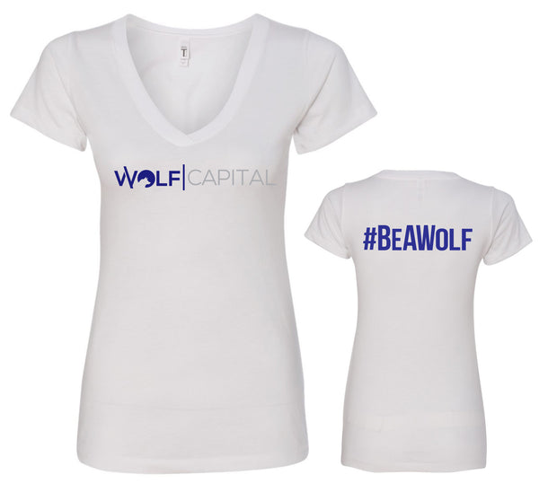 Classic Original Logo Wolf Capital Ladies V Neck Tee Without Tagline Design 6