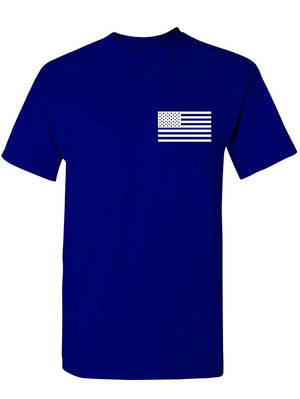 Manateez Men's Thin Blue Line Law Enforcement American Flag Tee Shirt