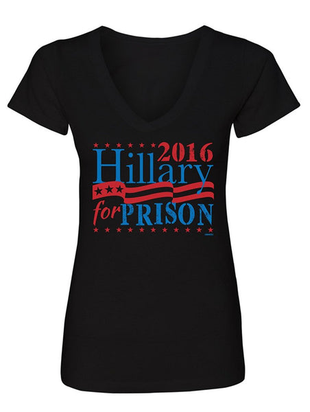 Manateez Women's Election 2016 Hillary for Prison V-Neck Tee Shirt