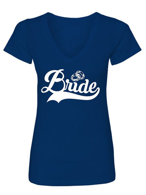 Manateez Women's Bride and Rings V-Neck Tee Shirt
