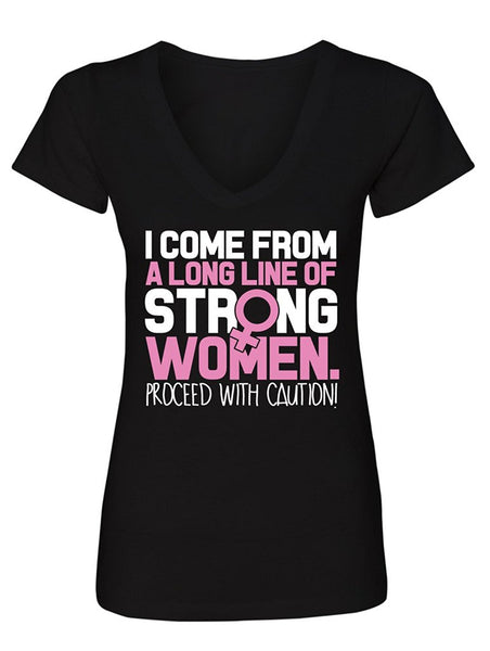 Manateez Women's Mother's Day Strong Line of Women Family V-Neck