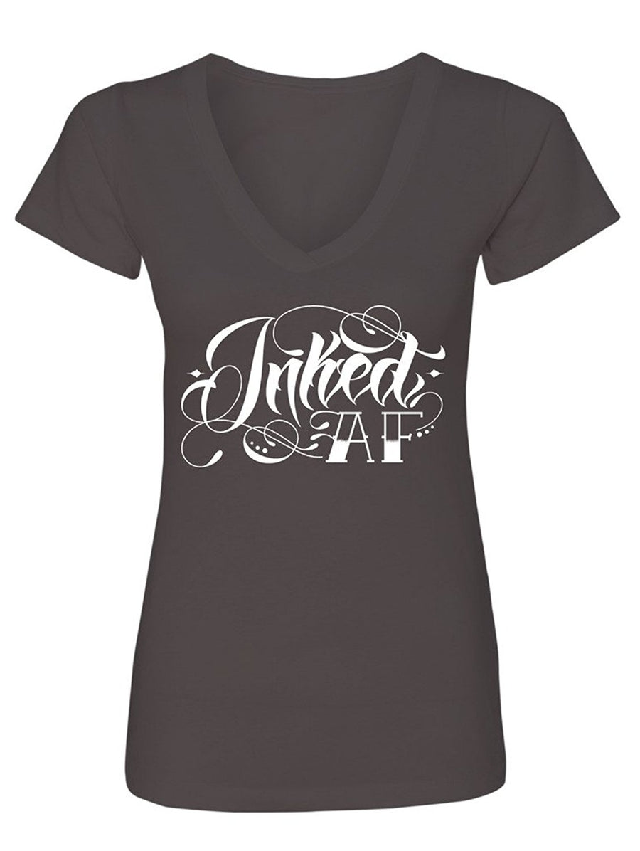 Manateez Women's Tattoos Tatted Up Inked AF V-Neck