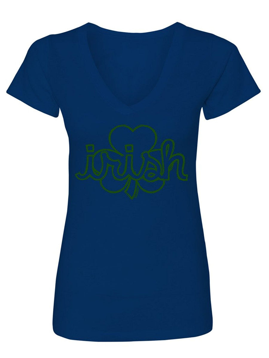 Manateez Women's St. Patrick's Day Irish Shamrock V-Neck Shirt