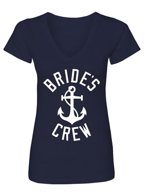Manateez Women's Nautical Bride's Crew Bachelorette Party Shirt V-Neck