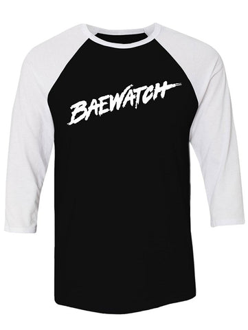 Manateez Baywatch Lifeguard Design Baewatch Raglan Tee Shirt
