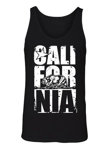 Manateez Men's California Bear Block Letters Tank Top