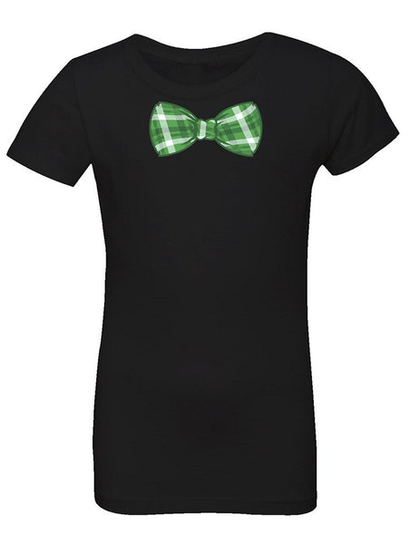 Manateez Girl's St. Patrick's Day Green Plaid Bowtie Tee Shirt