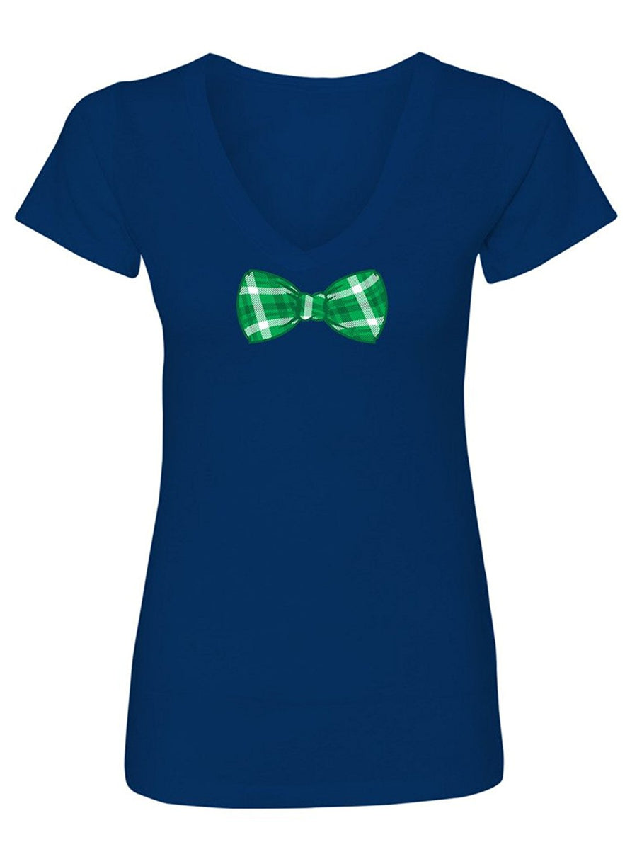 Manateez Women's St. Patrick's Day Green Plaid Bowtie V-Neck Shirt