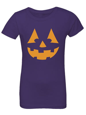 Manateez Girls Orange Jack O Lantern Tee Shirt
