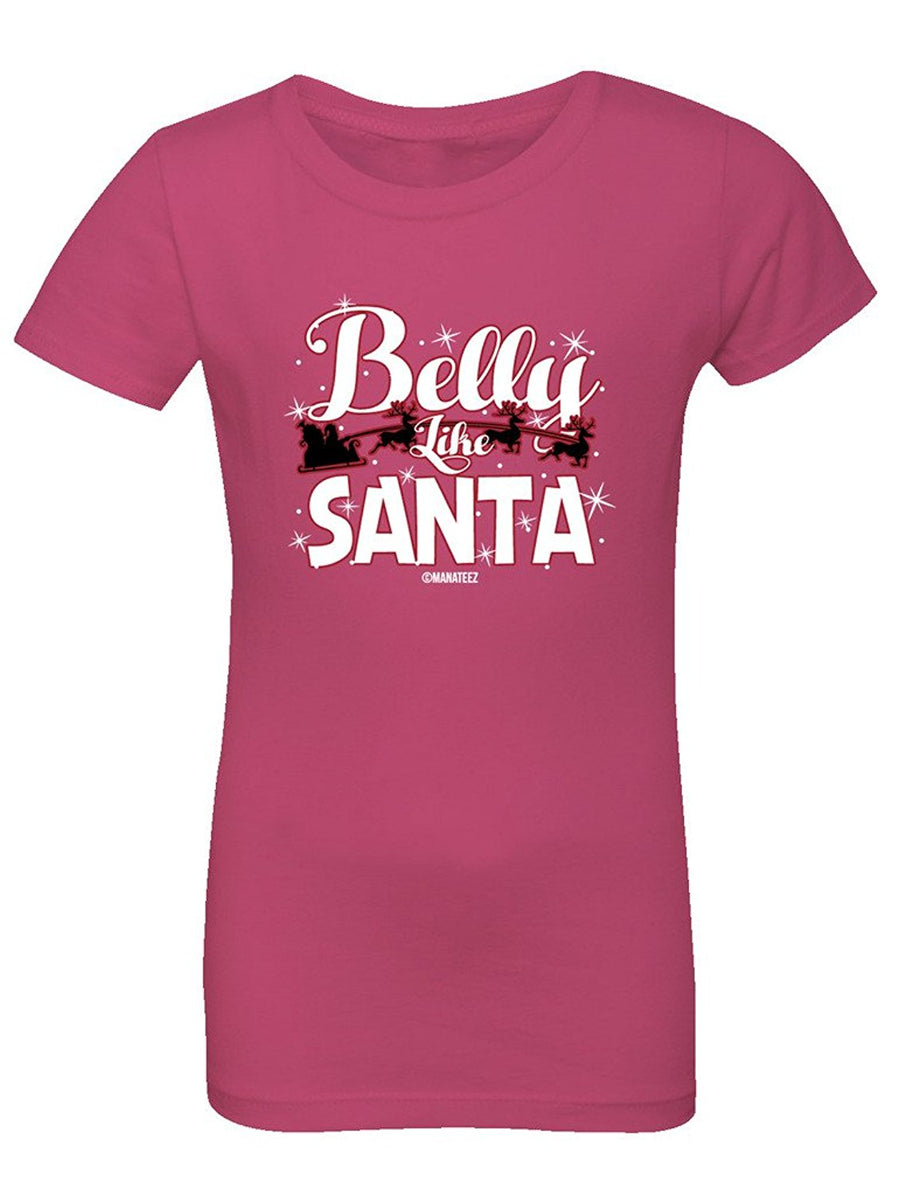Manateez Girl's Belly Like Santa Sleigh Tee Shirt