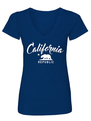 Manateez Women's California Republic V-Neck Tee Shirt