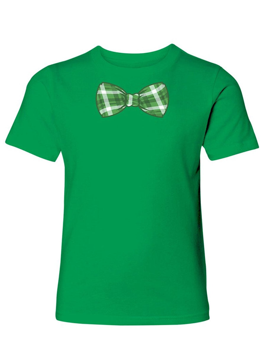 Manateez Boy's St. Patrick's Day Green Plaid Bowtie Tee Shirt