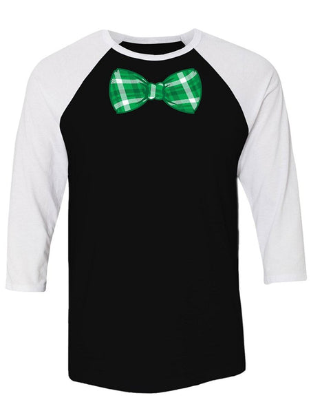 Manateez St. Patrick's Day Green Plaid Bowtie Raglan