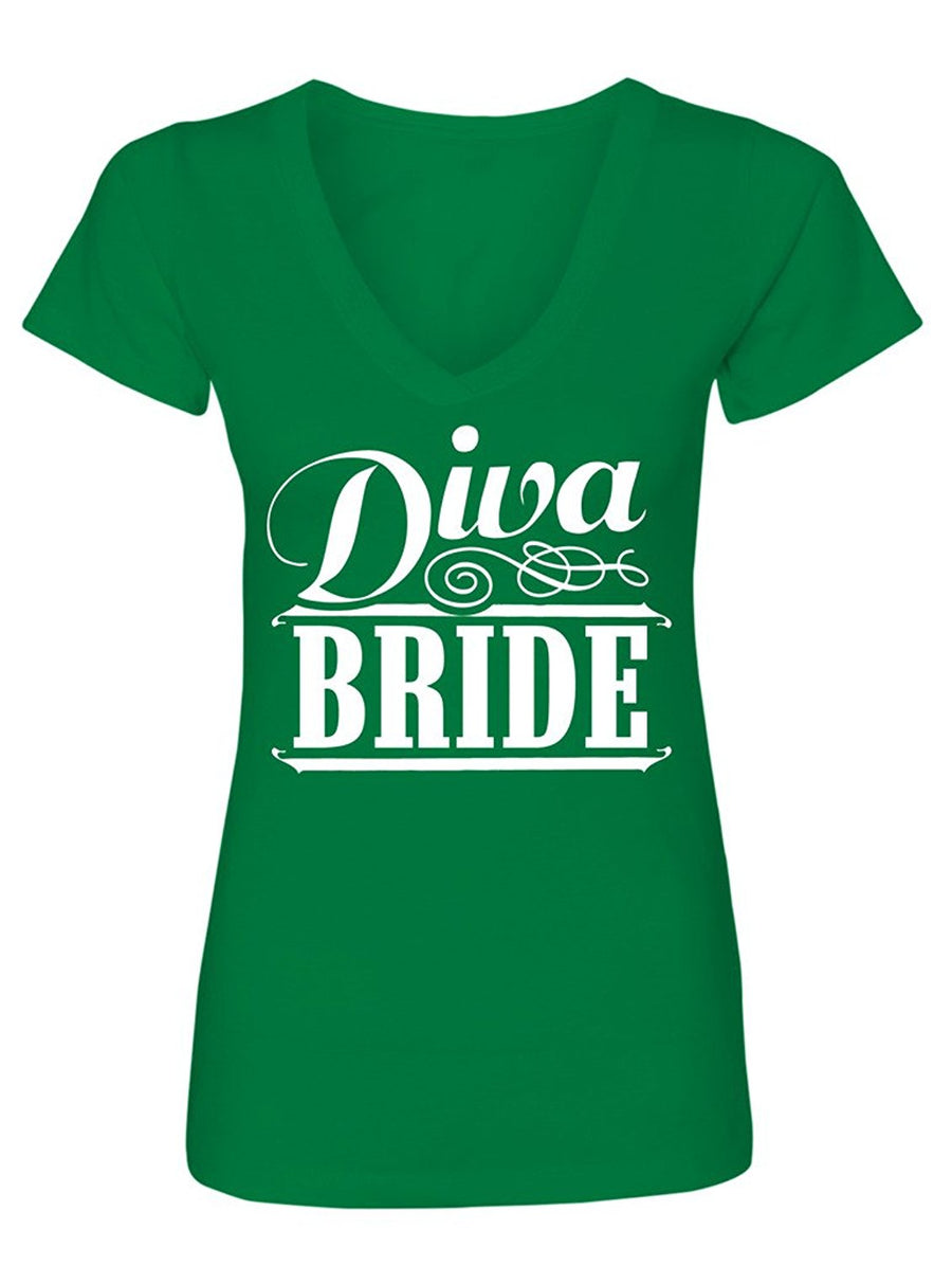 Manateez Women's Diva Bride Bachelorette Party V-Neck Tee Shirt