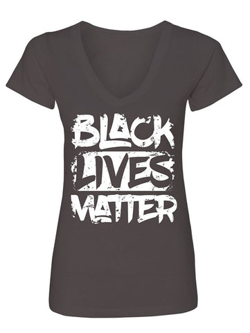 Manateez Women's Black Lives Matter V-Neck Tee Shirt