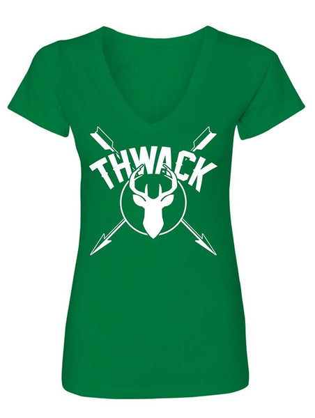 Manateez Women's Thwack Bow Hunting Crossed Arrows V-Neck