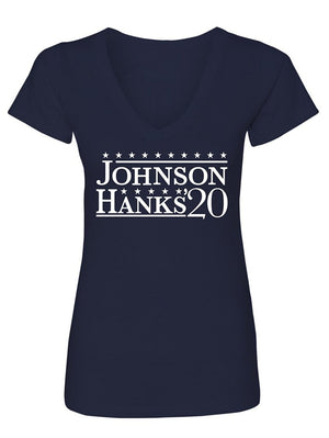 Manateez Women's Dwyane Rock Johnson for President 2020 V-Neck Tee Shirt