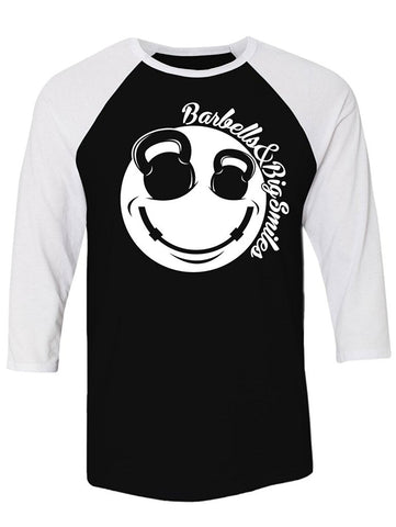 Manateez Barbells & Big Smiles Smiley Face Raglan Tee Shirt