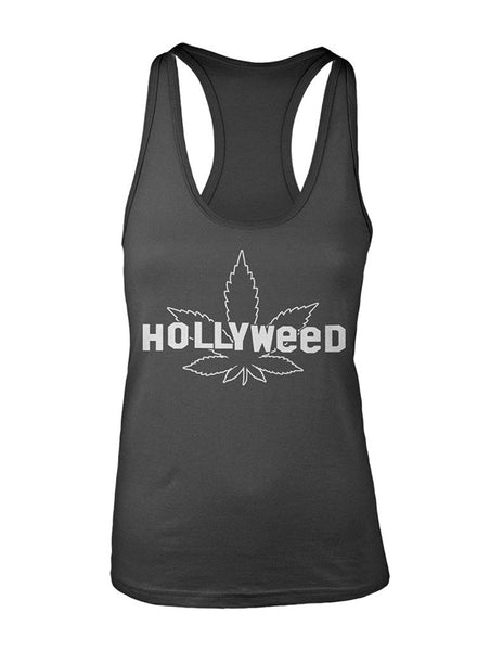 Manateez Women's Hollyweed Hollywood Sign Racer Back Tank Top