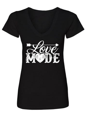 Manateez Women's Love Mode Lettering Valentine's Day V-Neck Large Black