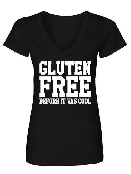 Manateez Women's Gluten Free Before It Was Cool V-Neck Tee Shirt