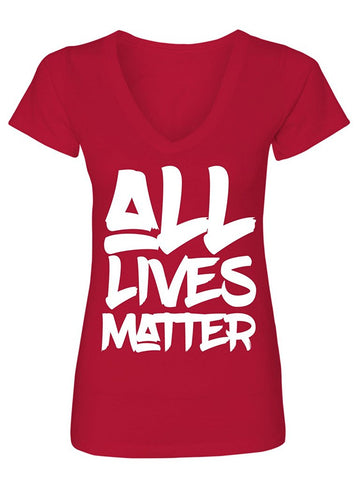 Manateez Women's All Lives Matter V-Neck Tee Shirt
