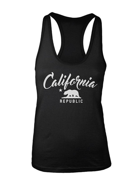 Manateez Women's California Republic Racer Back Tank Top Large Black