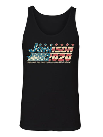 Manateez Men's American Flag Dwayne Rock Johnson for President 2020 Tank Top