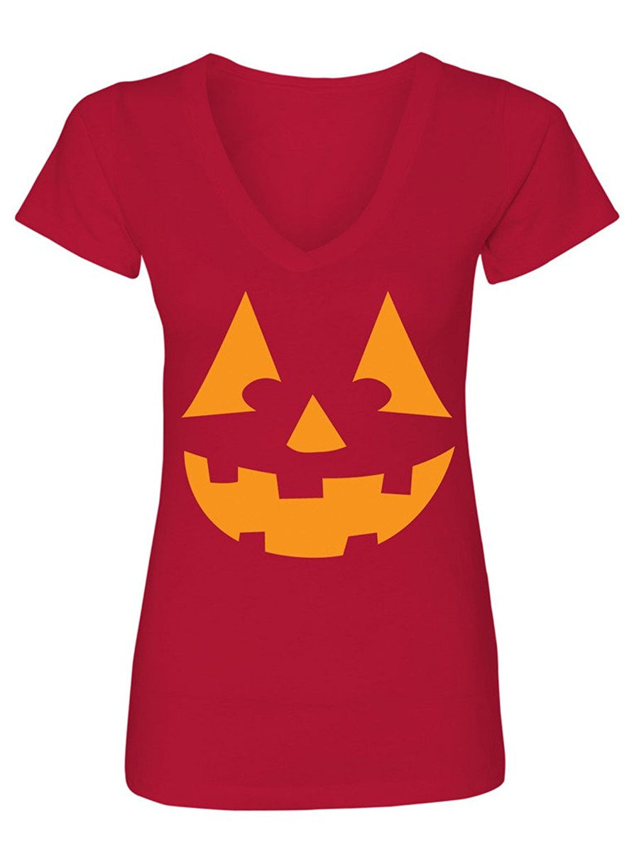 Manateez Women's Orange Jack O Lantern V-Neck Tee Shirt