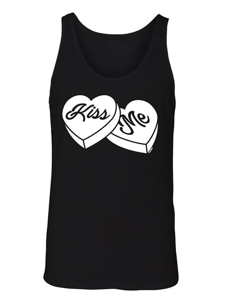 Manateez Men's Kiss Me Sweethearts Candies Valentine's Day Tank Top