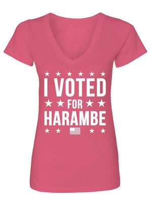 Manateez Women's I Voted for Harambe V-Neck Tee Shirt