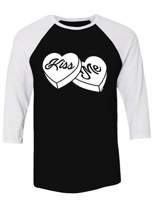 Manateez Kiss Me Sweethearts Candies Valentine's Day Raglan