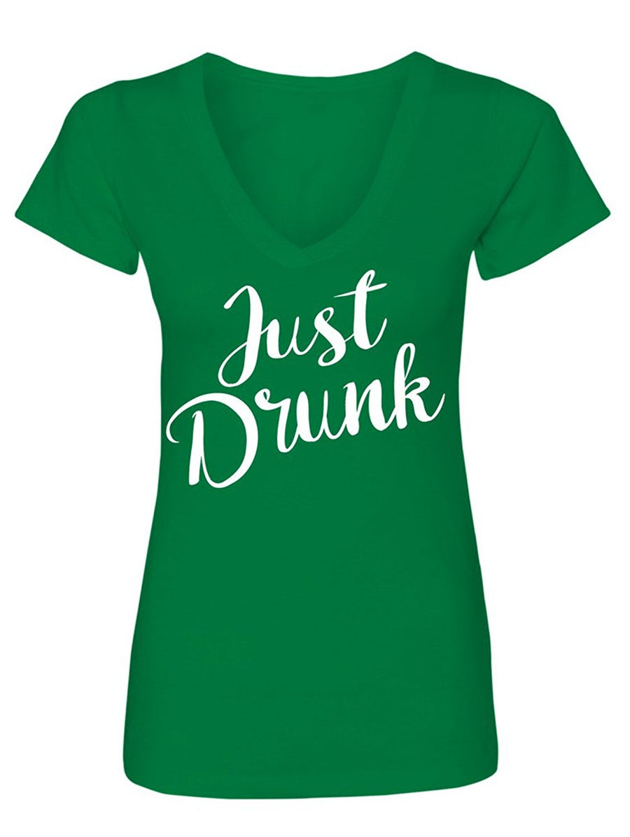 Manateez Women's Just Drunk V-Neck Tee Shirt