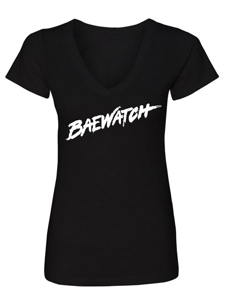 Manateez Women's Baywatch Lifeguard Design Baewatch V-Neck Tee Shirt