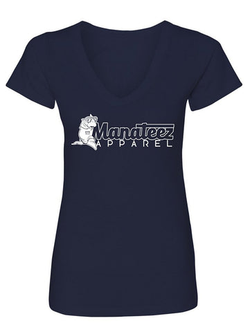 Manateez Women's Apparel Brand Logo V-Neck