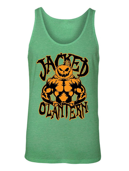 Manateez Men's Halloween Jacked O Lantern Pumpkin Spider Web Muscle Pumpkin Jack O Lantern Tank Top