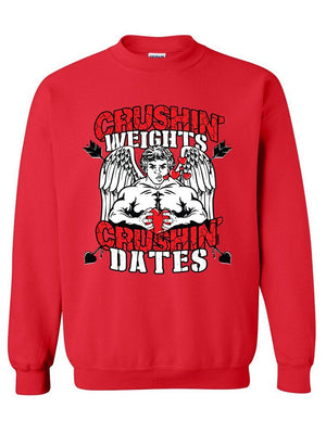 Manateez Jacked Cupid Crushin Weights & Crushin Dates Valentine's Day Crew Neck Sweatshirt