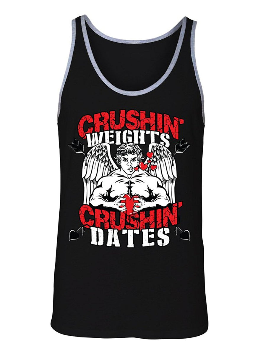 Manateez Men's Jacked Cupid Crushin Weights & Crushin Dates Valentine's Day Tank Top