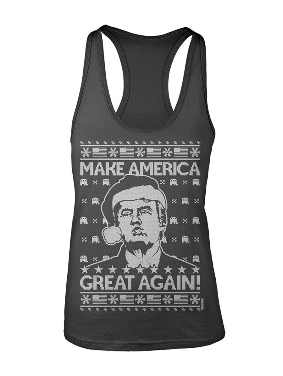 Manateez Women's Ugly Christmas Sweater Donald Trump Make America Great Again Racer Back