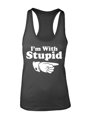 Manateez Women's I'm with Stupid Racer Back Tank Top
