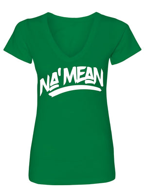 Manateez Women's Do You Know What I Mean NA' Mean V-Neck Tee Shirt