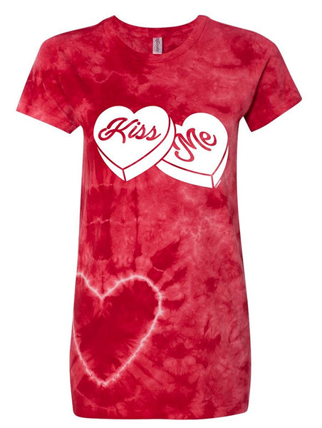 Manateez Women's Kiss Me Sweethearts Candies Valentine's Day Tie Dye Shirt