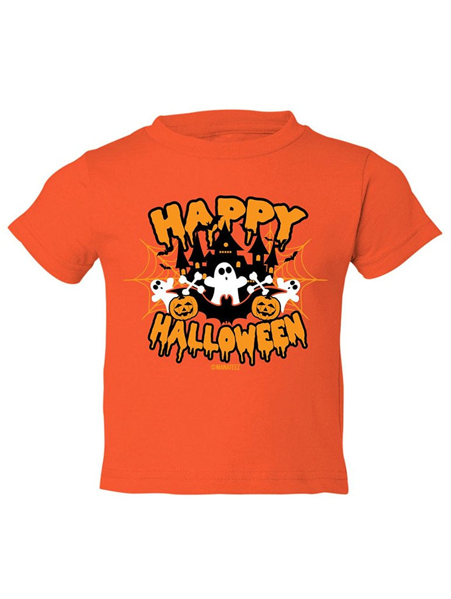 Manateez Toddler Happy Halloween Haunted House Tee Shirt