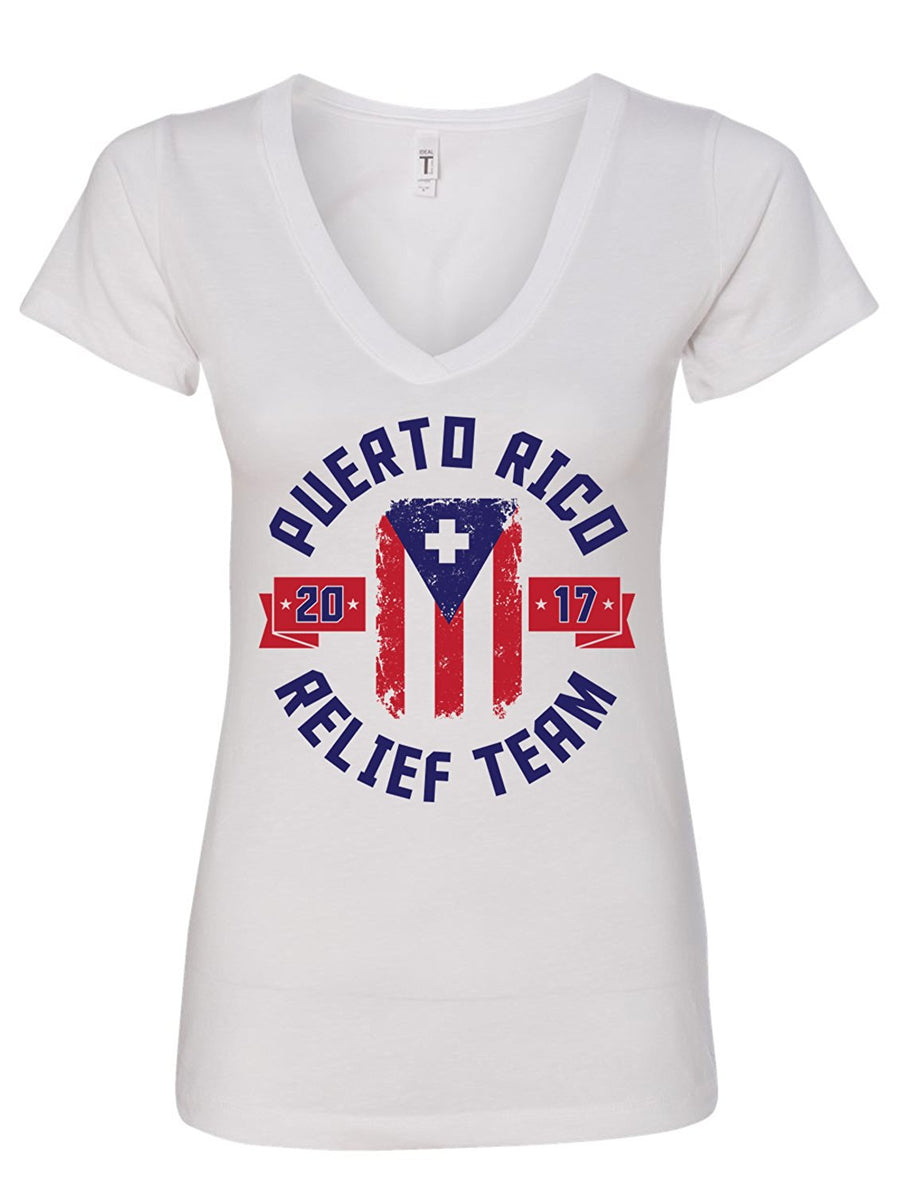 Manateez Women's Puerto Rico Relief Team 2017 V-Neck Tee Shirt - Donating Profits to Hurricane Survivors in Puerto Rico