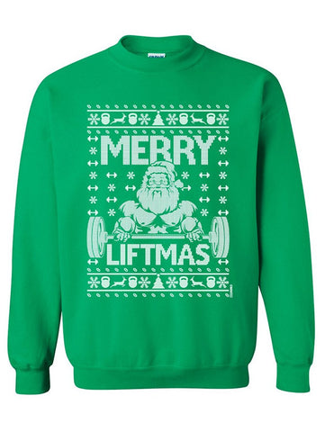 Manateez Ugly Christmas Sweater Merry Liftmas Santa Crew Neck Sweatshirts